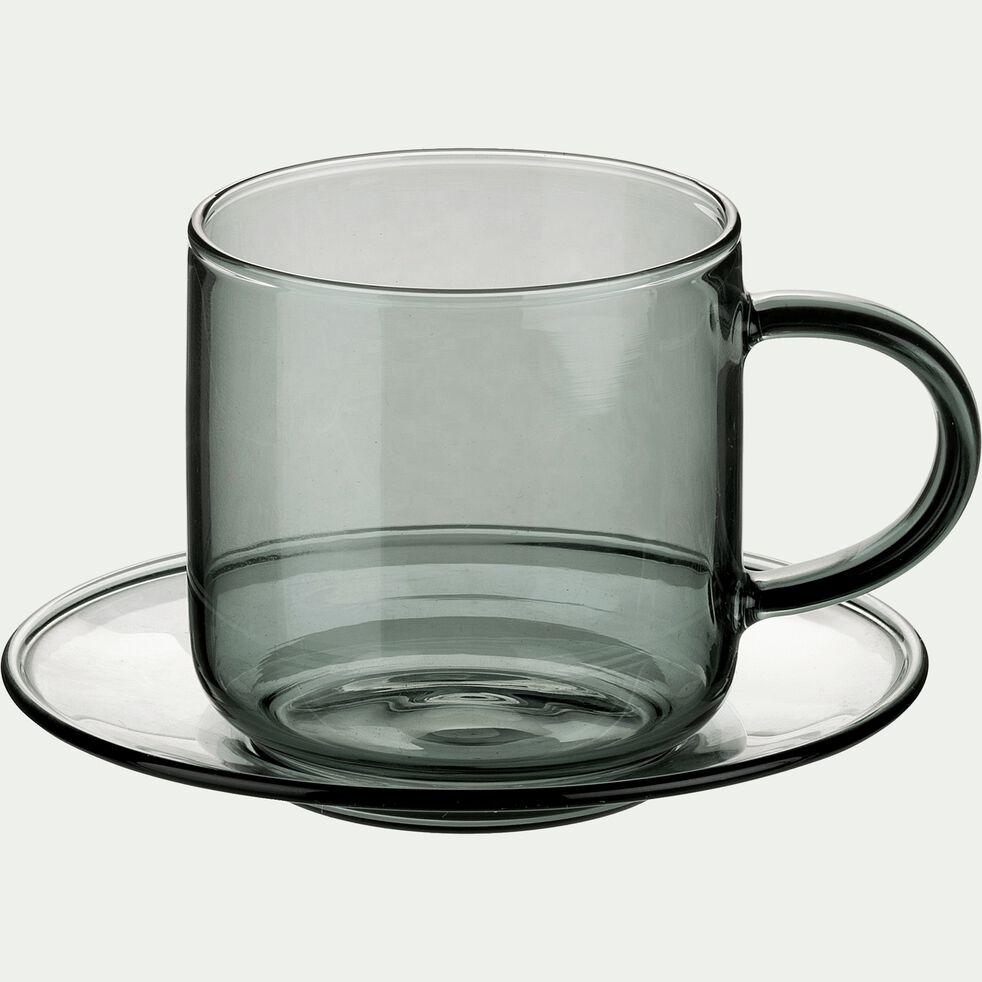 Tasse avec sous-tasse en verre gris15cl-AUBER