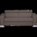 Canapé 3 places convertible en cuir de buffle taupe-Mauro