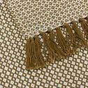 Plaid à franges et motifs en coton - jaune alep 130x170cm-PARA