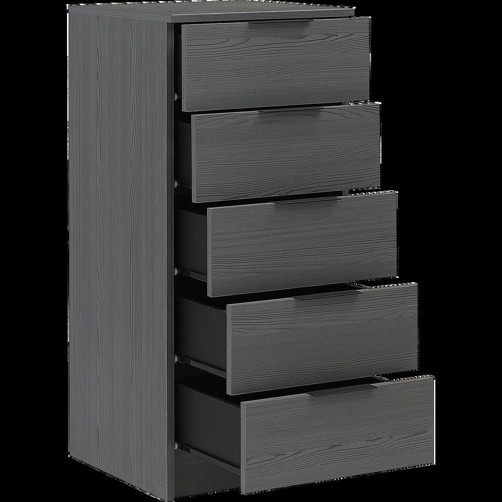 Chiffonnier 5 tiroirs gris foncé-BROOKLYN