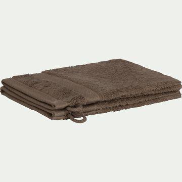 Lot de 2 gants en coton brun châtaignier-AZUR