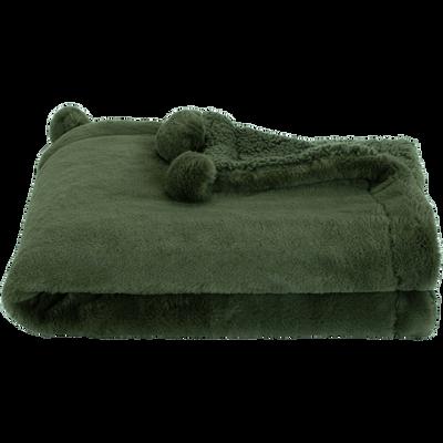 Plaid 100x150cm vert cèdre et blanc à pompons pour enfant-ISABY
