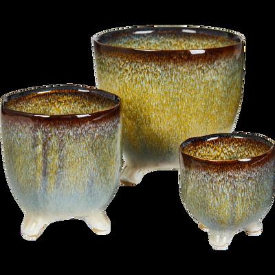 Lot de 3 cache-pots en céramique vert-Milan
