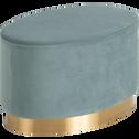 Pouf en velours forme ovale vert céladon-AUVE