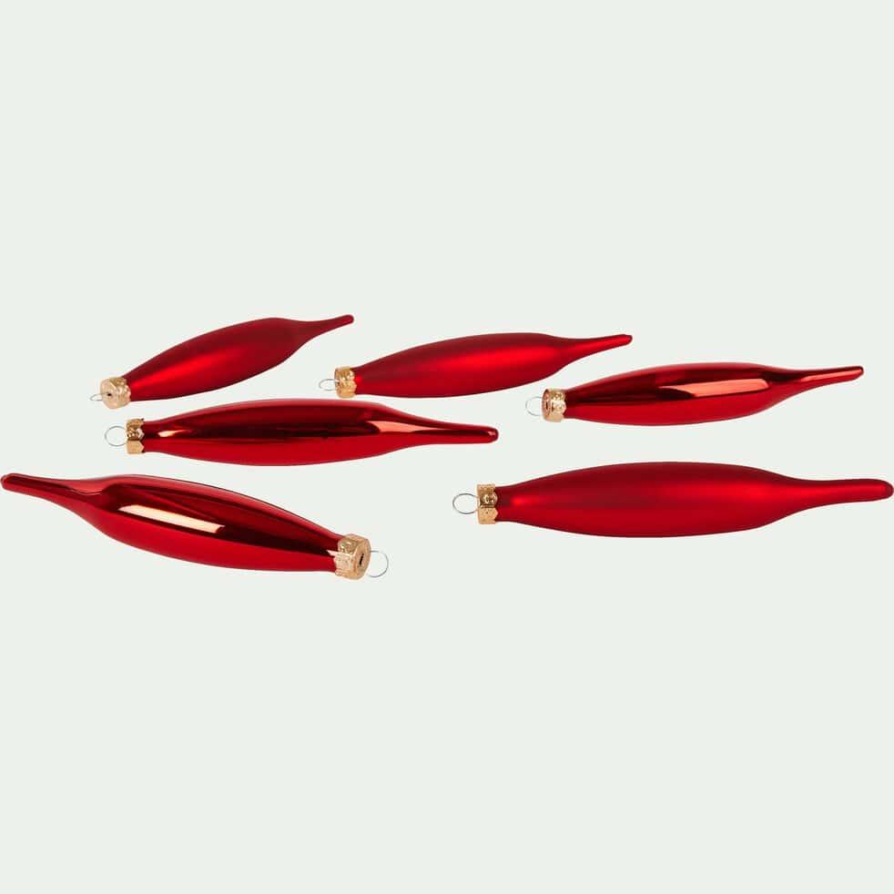 Lot de 6 stalactites en verre rouge H15xD3cm-NINE