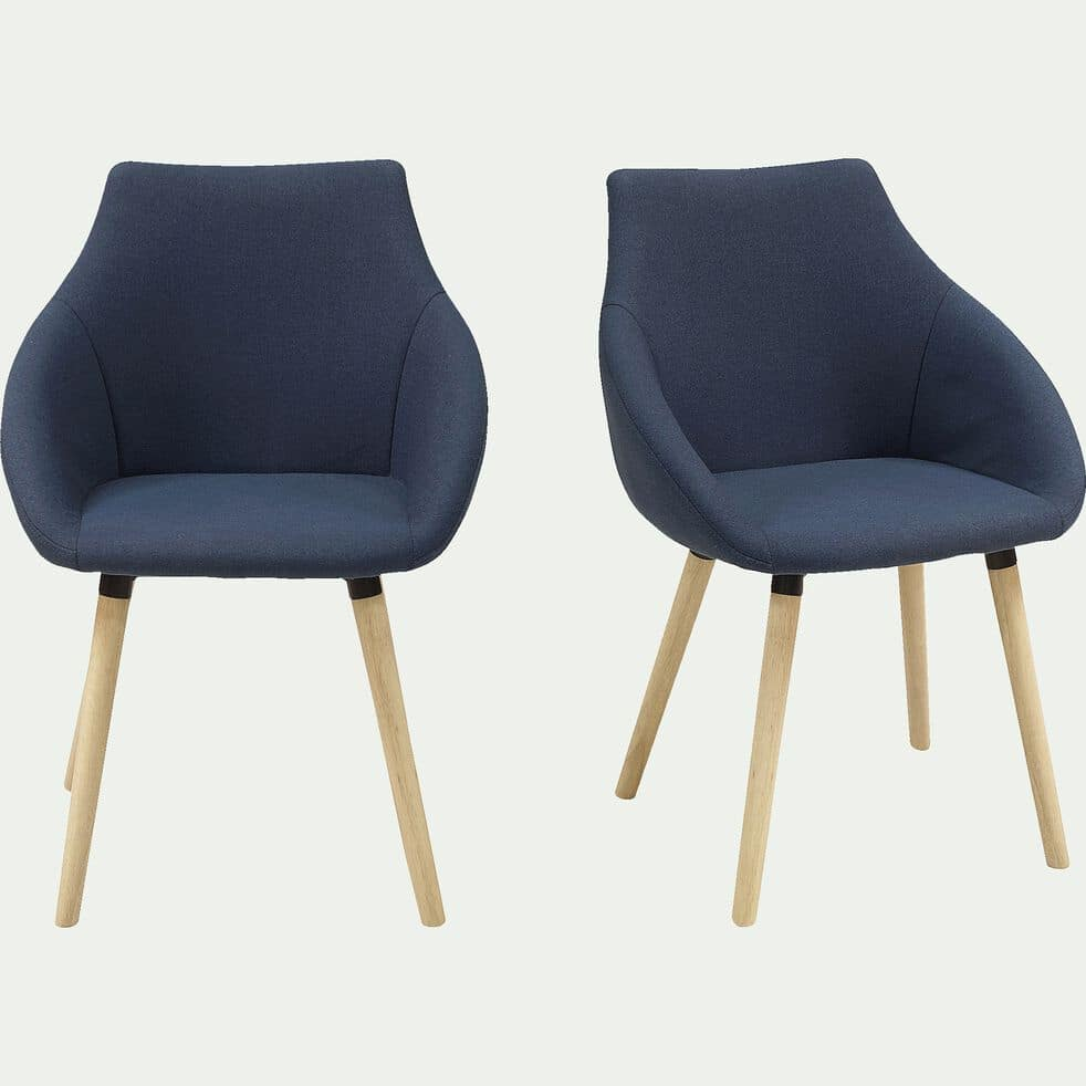 Chaise en tissu avec accoudoirs - bleu foncé-NOELIE