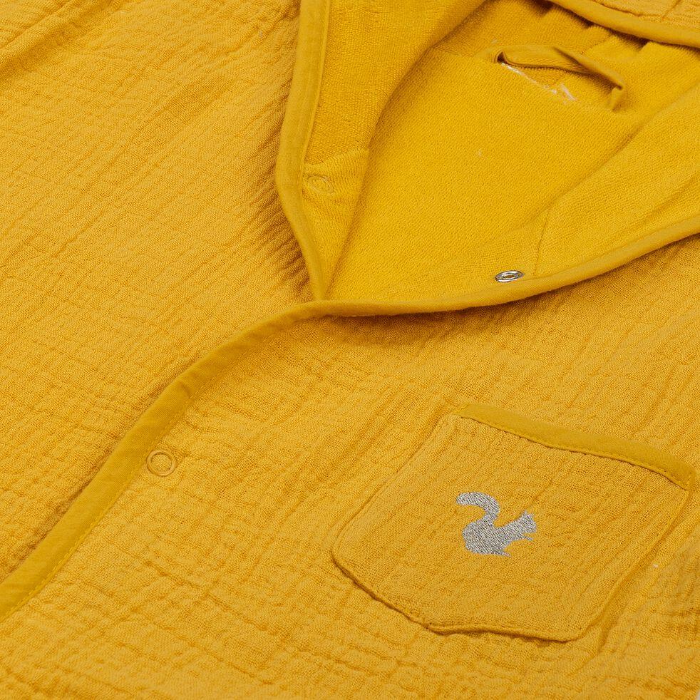 Peignoir enfant 4 à 6 ans en coton bio avec broderie lurex - jaune moutarde-Nuage