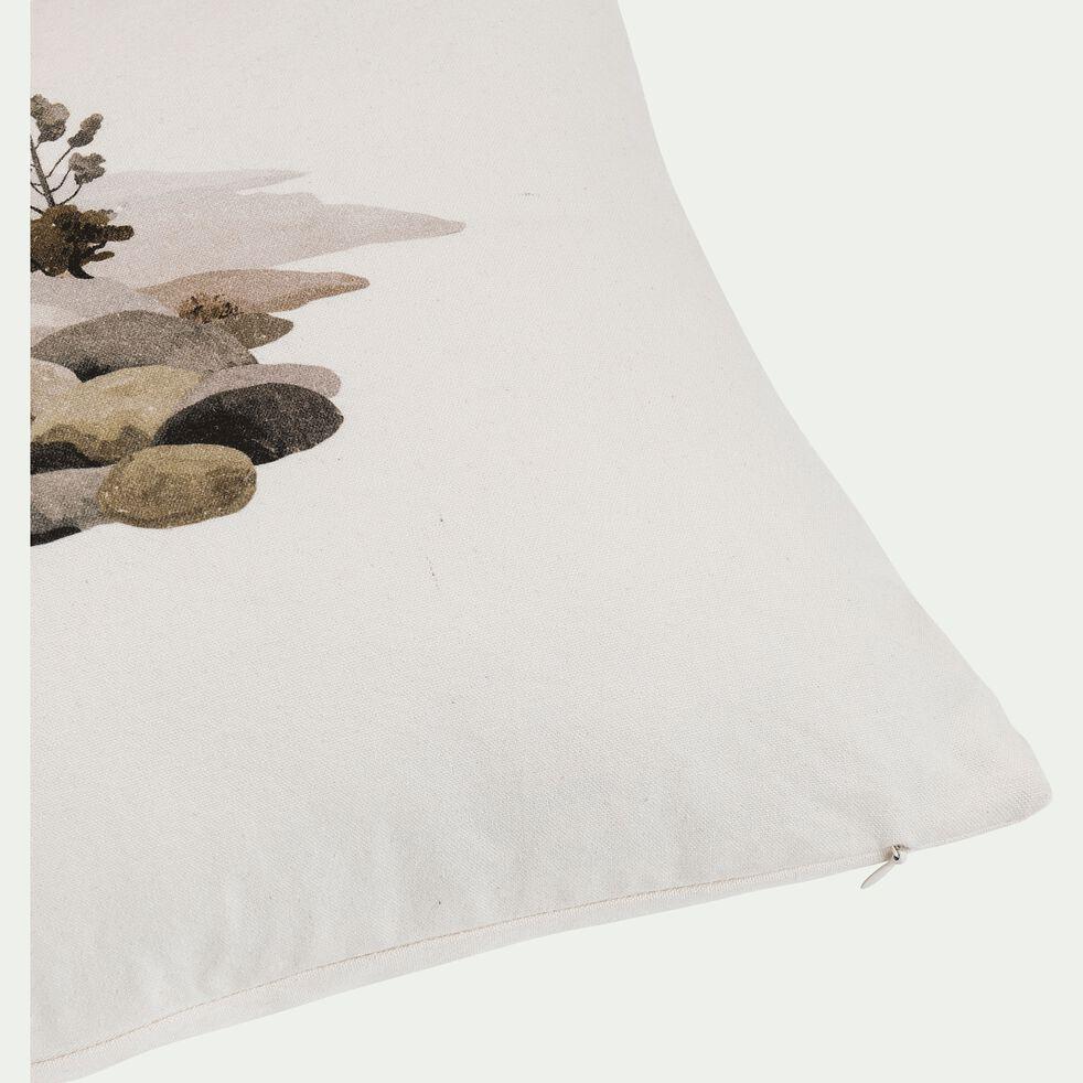Coussin à motifs retour du mas - beige 30x50cm-RETOUR AU MAS