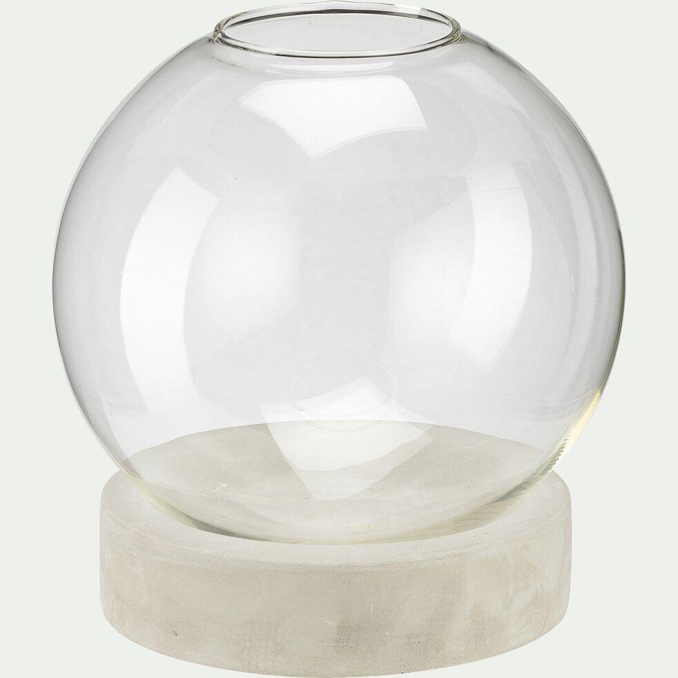 Vase boule en verre et socle en ciment - transparent D19xH21,5cm-ODELIA