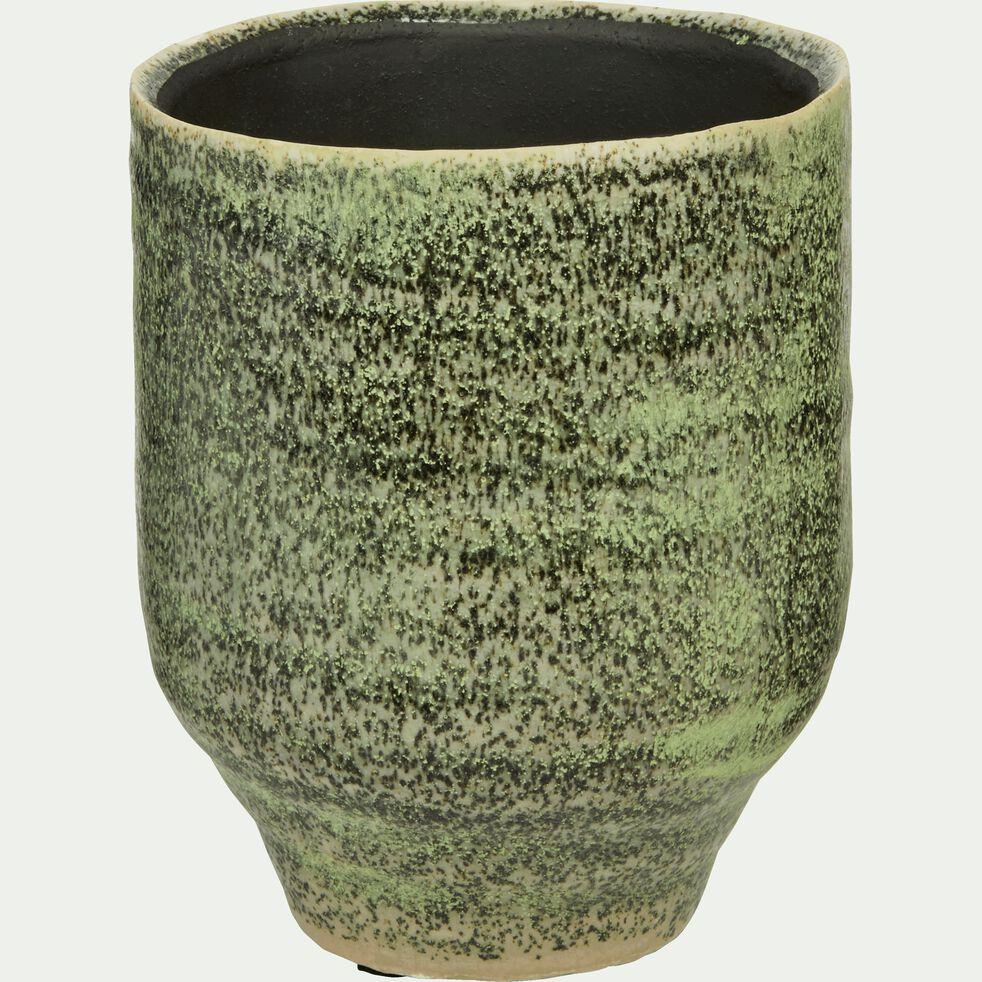 Cache-pot en céramique vert D12xH14cm-Parme