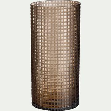Vase rétro en verre teinté - marron H32cm-LEOPOLD