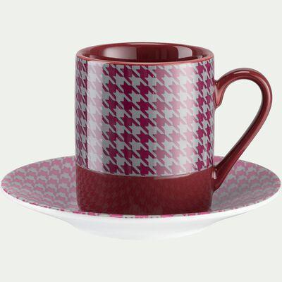 Coffret de 6 tasses et sous-tasses en porcelaine 9cl-PIED DE POULE