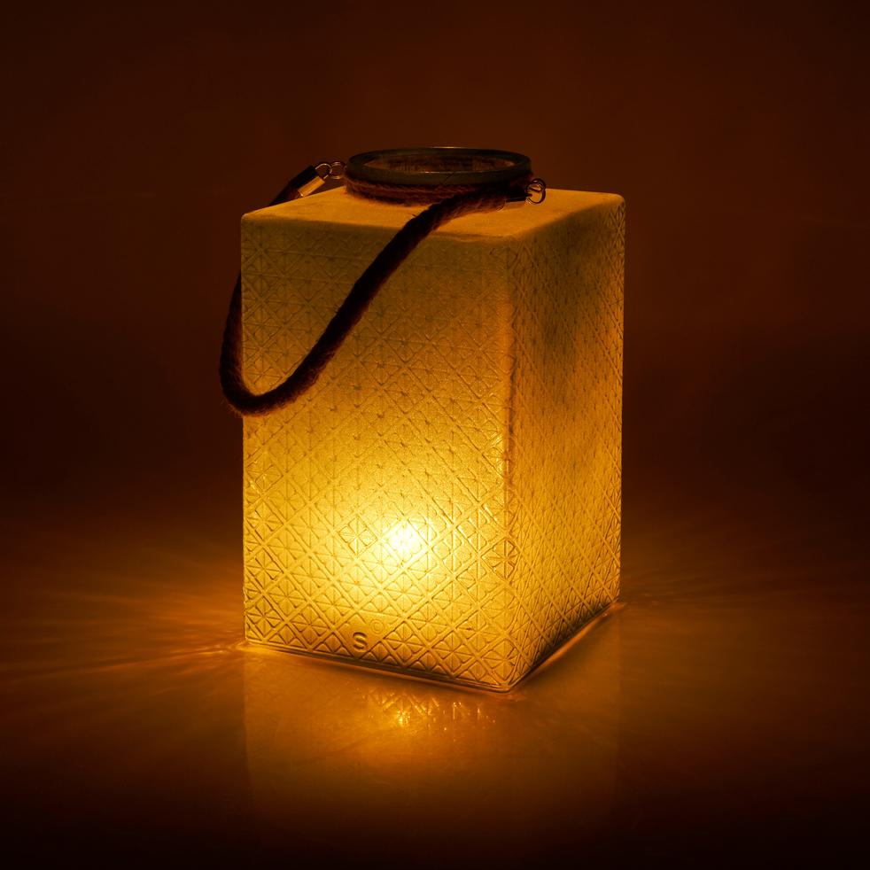 Lanterne en verre vert H34xD20cm-VUONG