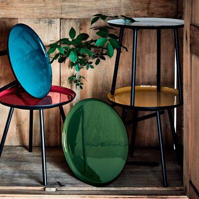 Bout de canapé en acier epoxy avec plateau vert cèdre émaillé-VITOUR