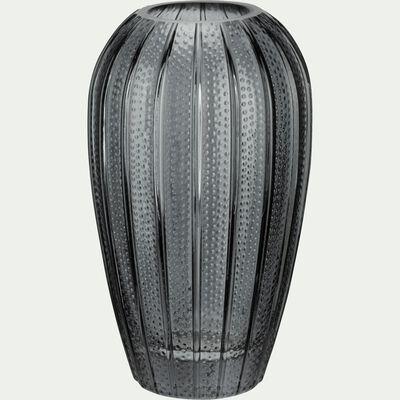 Vase en verre piqué - gris restanque H20,5cm-Dokoy