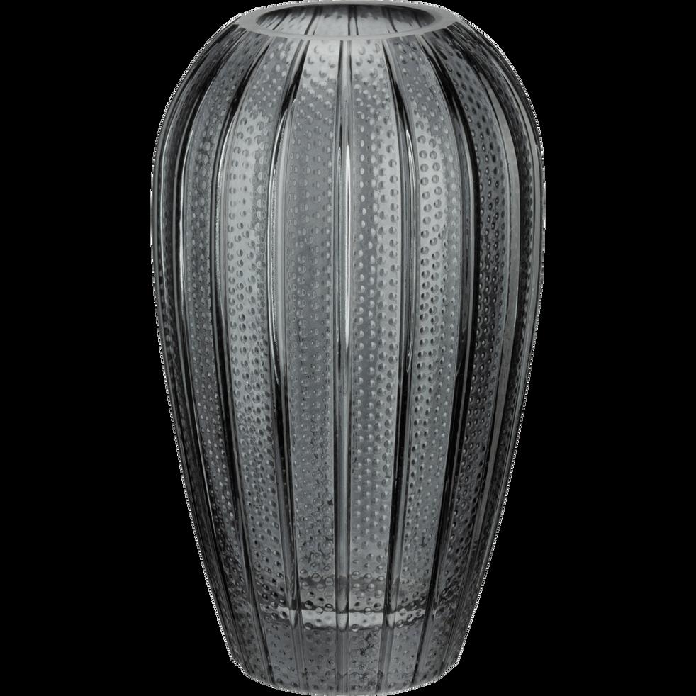 Vase en verre avec relief gris restanque H20,5 cm-Dokoy