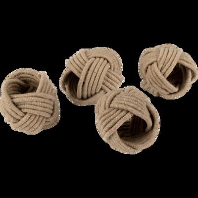 Lot de 4 ronds de serviette en coton beige D5cm-QUARI