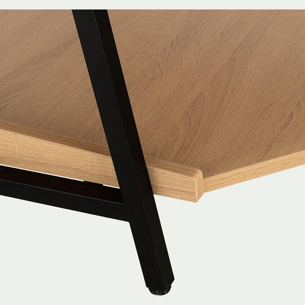 Rangement d'angle bois clair et métal noir H221cm-HENRY
