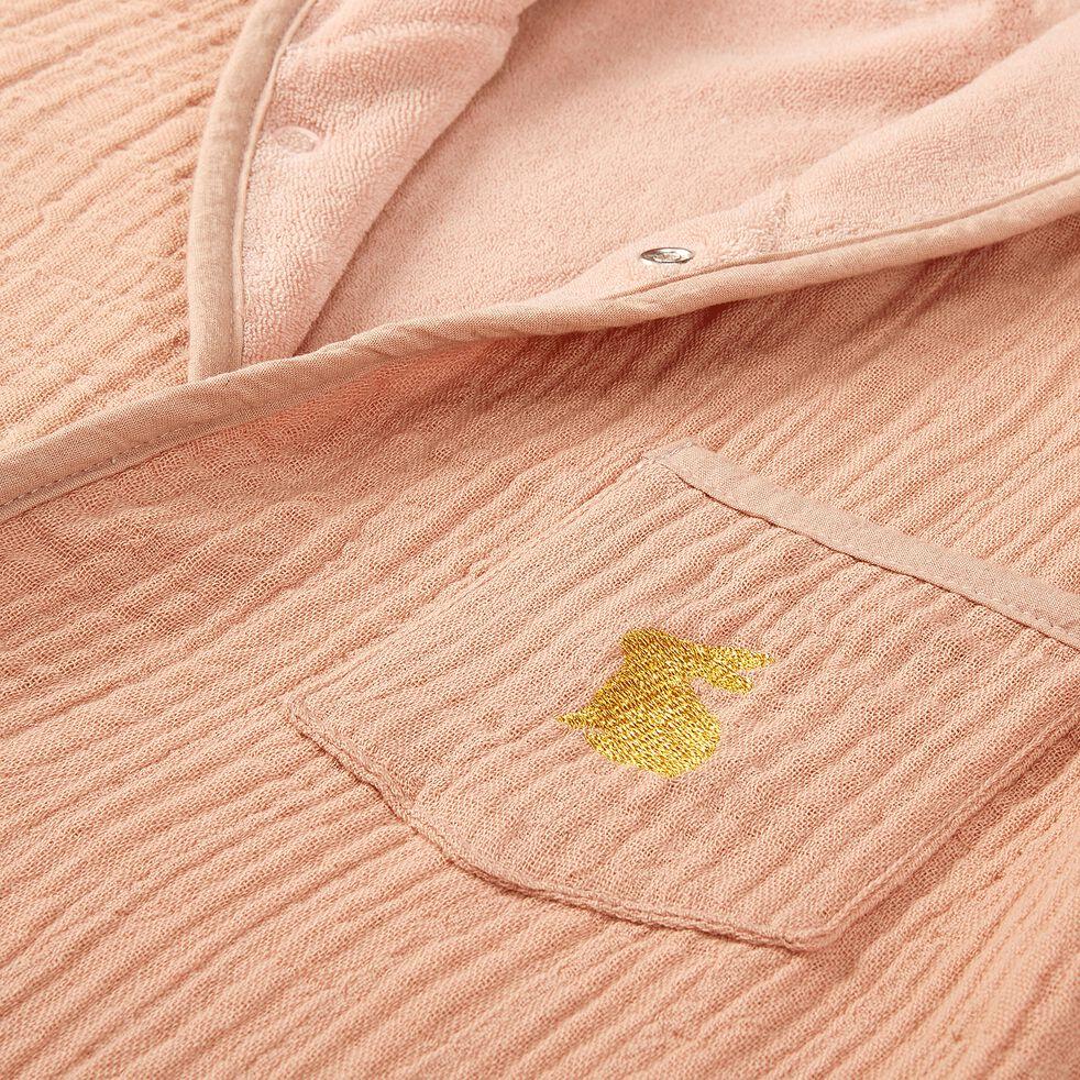 Peignoir enfant 4 à 6 ans en coton bio avec broderie lurex - rose salina-Nuage