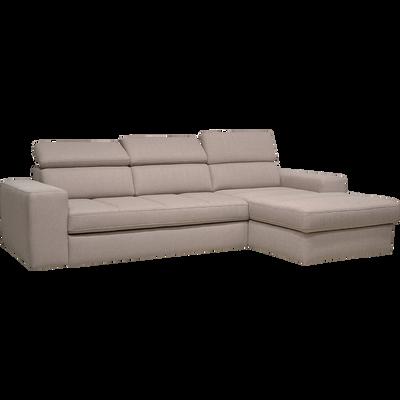 Canapé d'angle droit convertible en tissu grège-TONIN