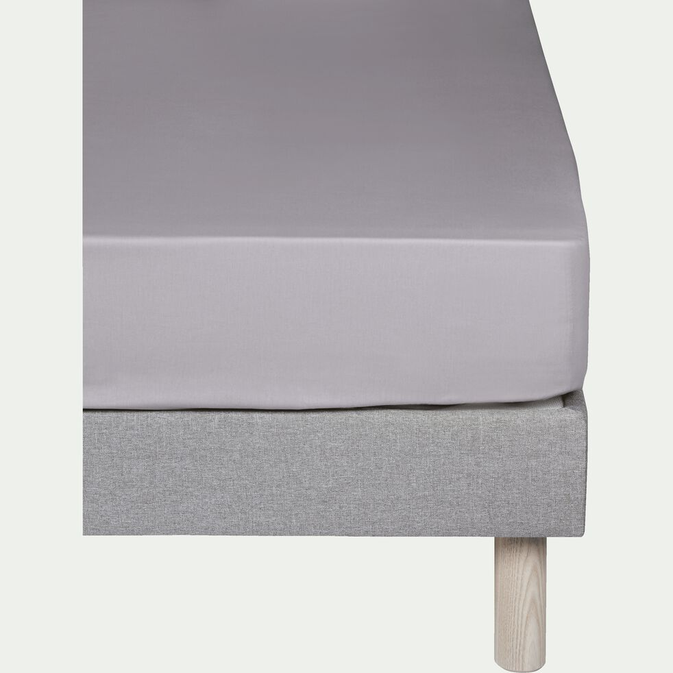 Drap housse en coton - gris restanque 200x200cm B30cm-CALANQUES