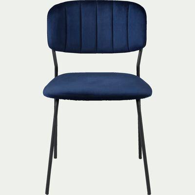 Chaise en velours piétement en métal - H77xl56xL50cm bleu céou-TURINA