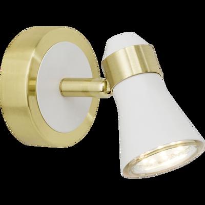 Applique spot en métal blanc et doré H11cm-JUPP