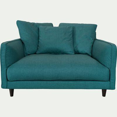 Canapé 1,5 places fixe en tissu bleu niolon-LENITA