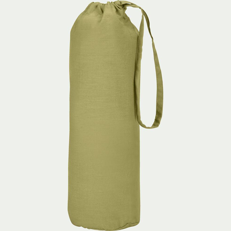 Drap housse en coton - vert garrigue 140x200cm B25cm-CALANQUES