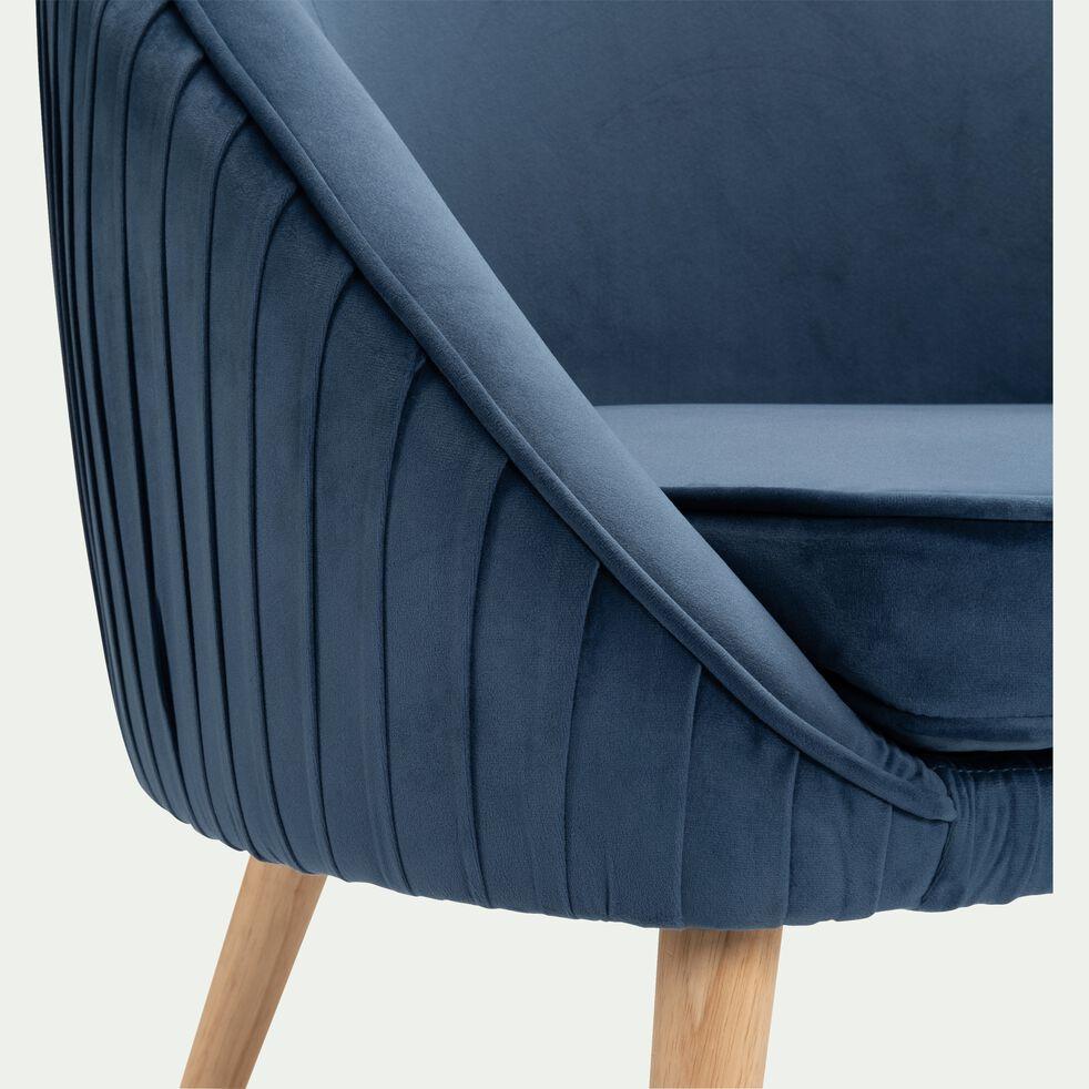 Fauteuil en velours - bleu figuerolles-PÔME