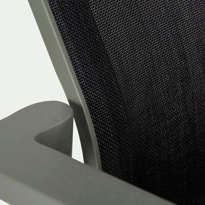Chaise de jardin en aluminium empilable avec accoudoirs vert cèdre et noir-CLORIS