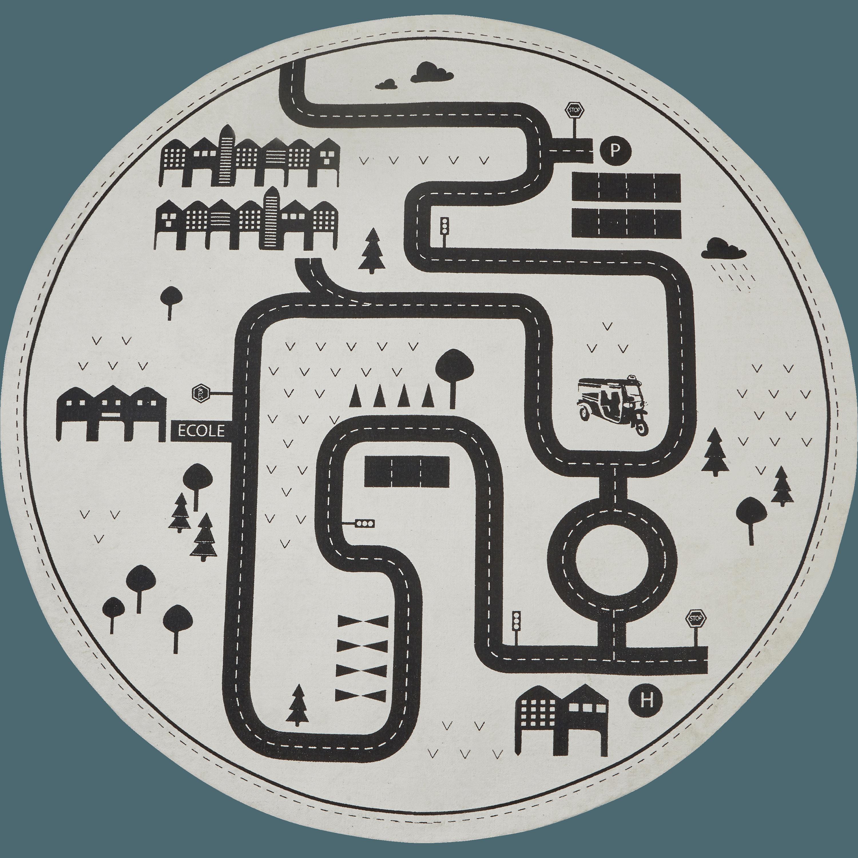 Tapis Rond Pour Enfant D120cm Motif Circuit CAMOIN
