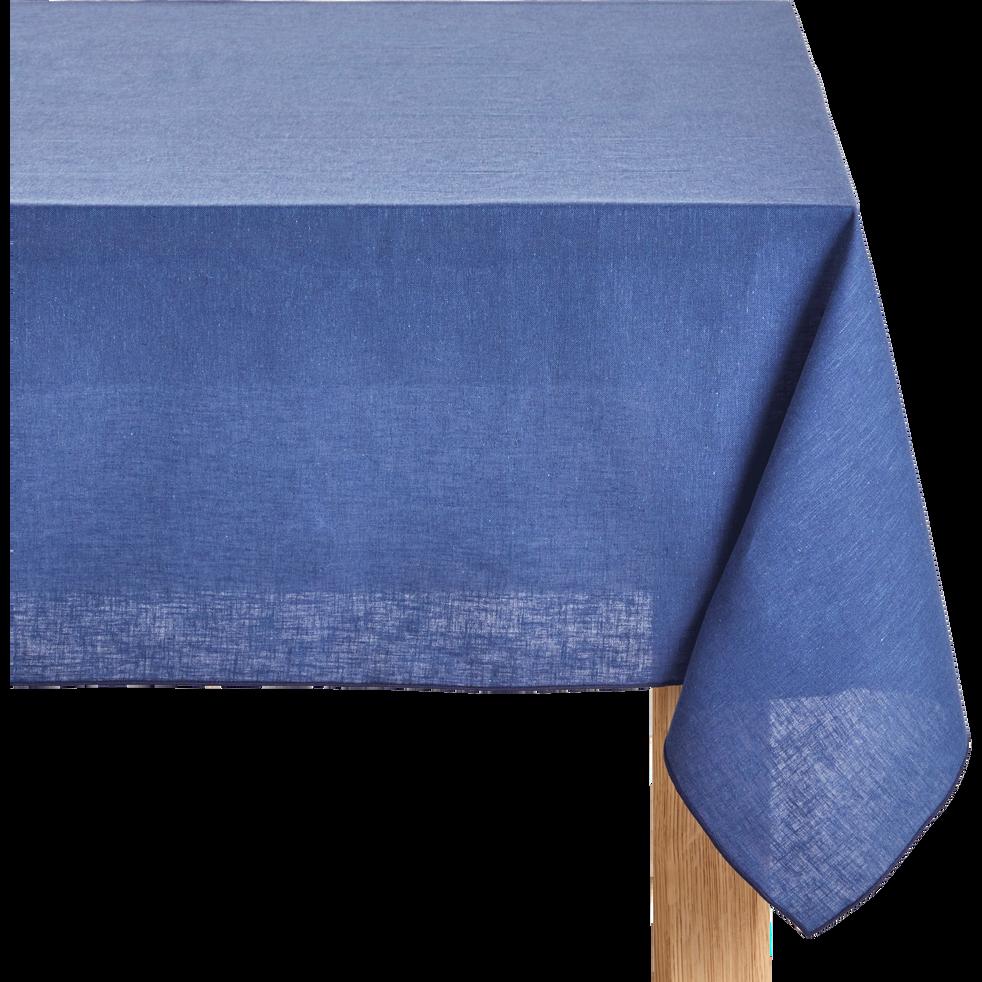 Nappe en lin et coton bleu figuerolles 170x170cm-NOLA