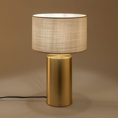 Lampe en acier doré - beige roucas H36cm-AGATHA