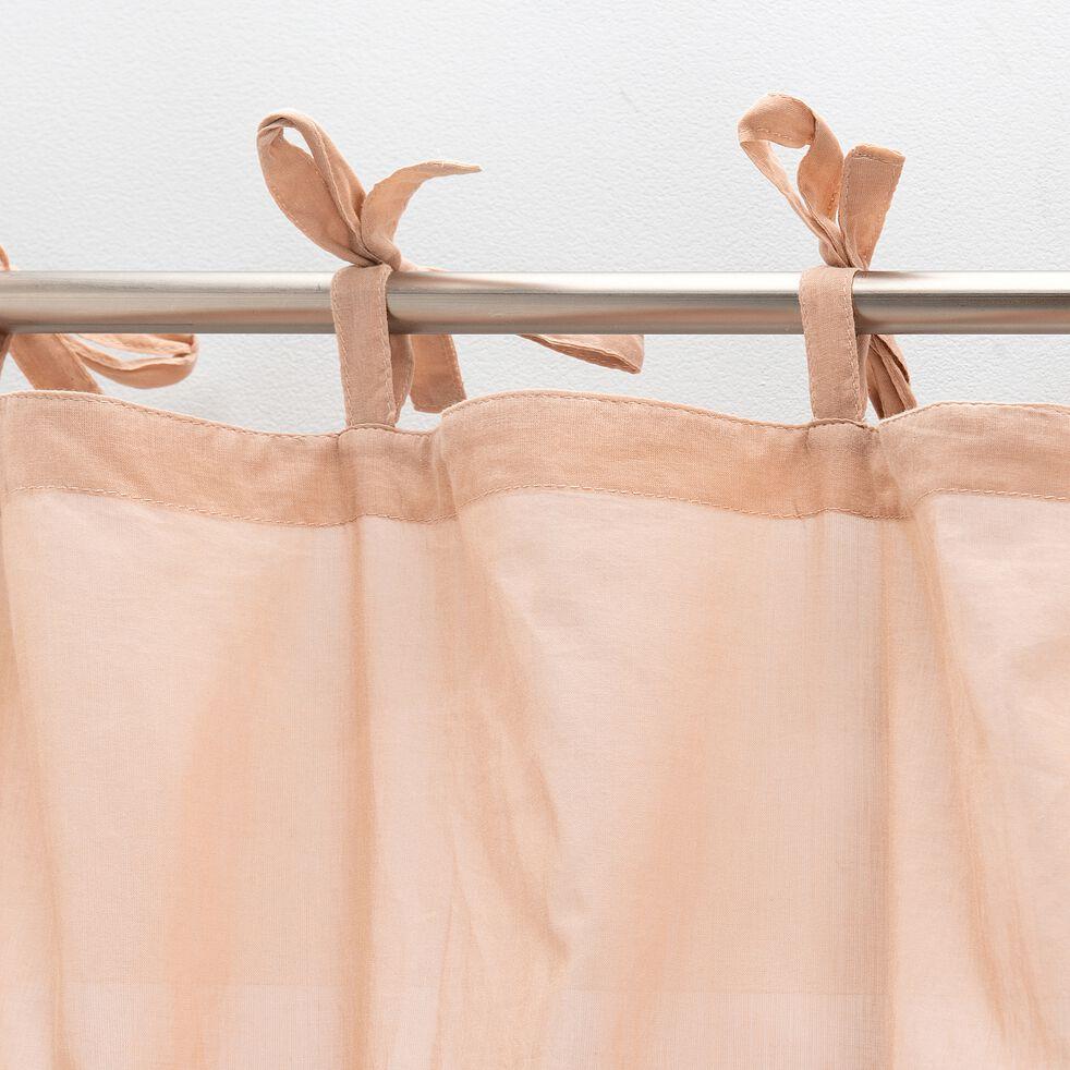 Voilage à nouettes en coton 140x250cm - rose-Lory