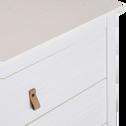 Commode avec structure et façade en pin massif 2X3 tiroirs blanc-LISON