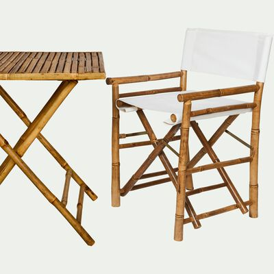 Ensemble table (2 places) et chaise de jardin en bambou