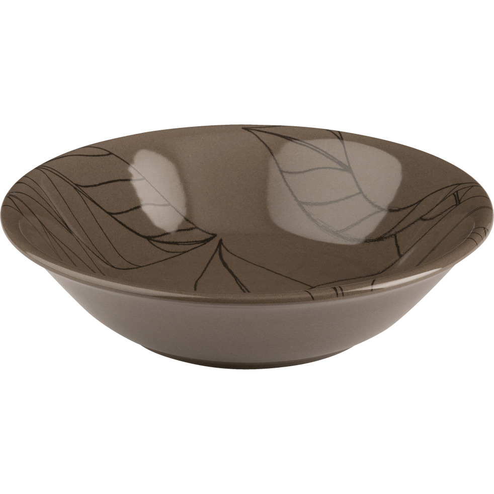 Assiette creuse en grès brun châtaignier décoré D19cm-LAURIER