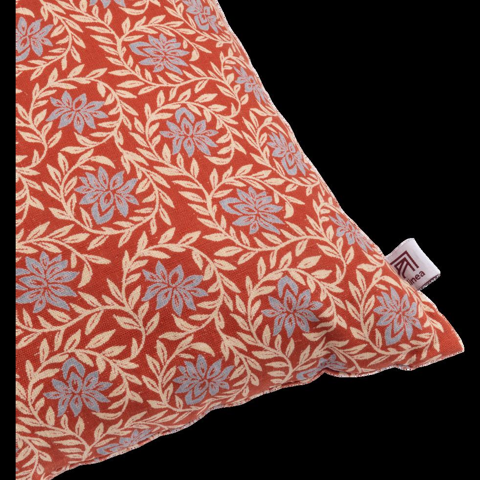 Coussin en lin à motif rouge brique 40x40cm-JASMIN