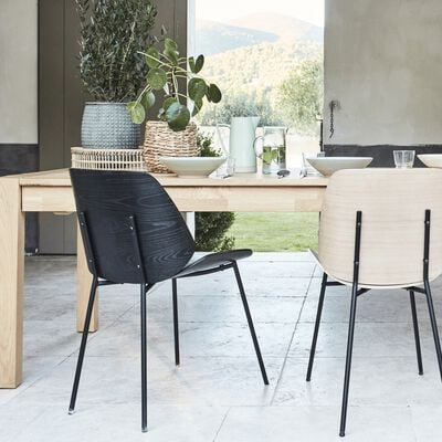 Chaise en bois plaqué - noir-CORDOBA