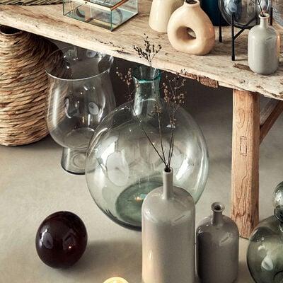Vase boule en verre recyclé - transparent D32xH45cm-HOYA