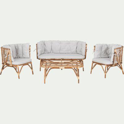 Salon intérieur/extérieur en rotin et coussins gris (4 places)-ONNO
