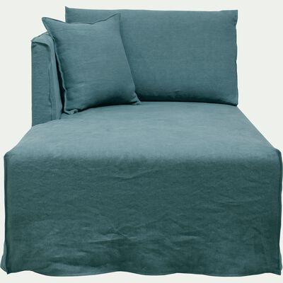 Méridienne gauche en lin bleu calaluna-VENCE