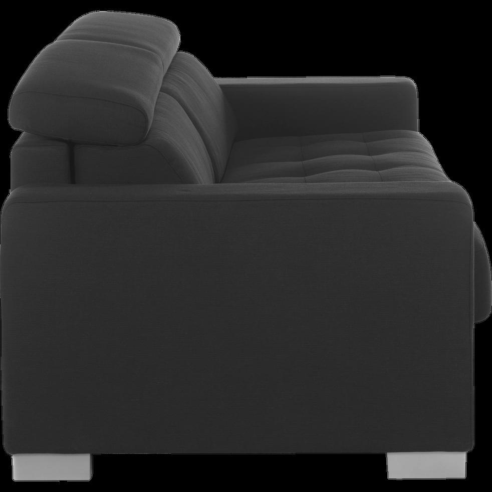 Canapé 3 places convertible en tissu gris foncé-Mauro