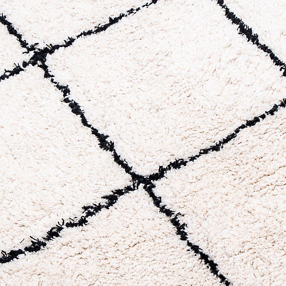 Tapis à motifs carreaux en coton - blanc et noir 60x120cm-LINA