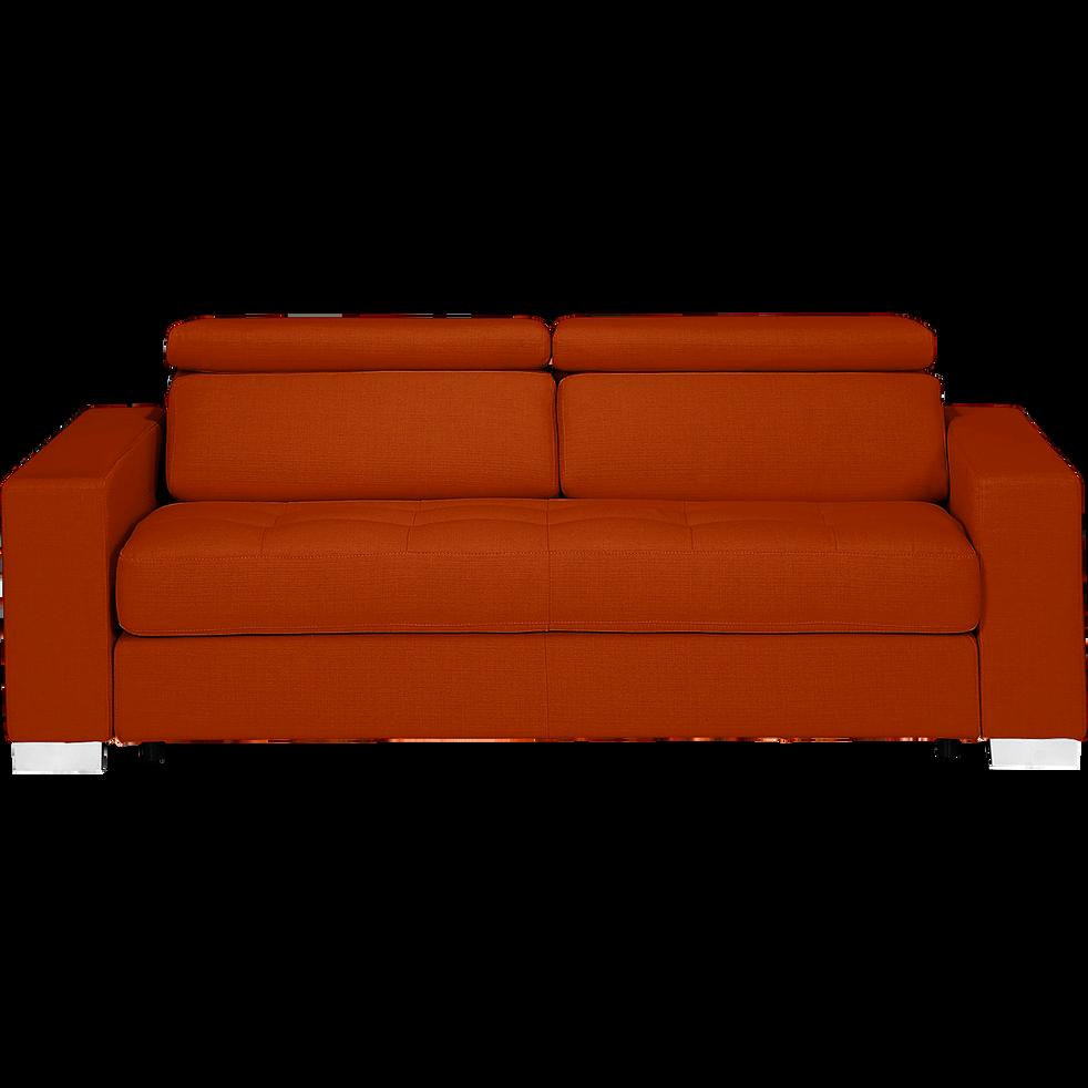 Canapé 3 places convertible en tissu rouge-Mauro