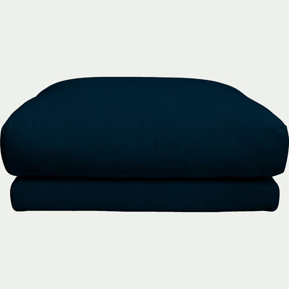 Pouf carré en tissu joint - L103xl103xH42 bleu figuerolles-AUDES