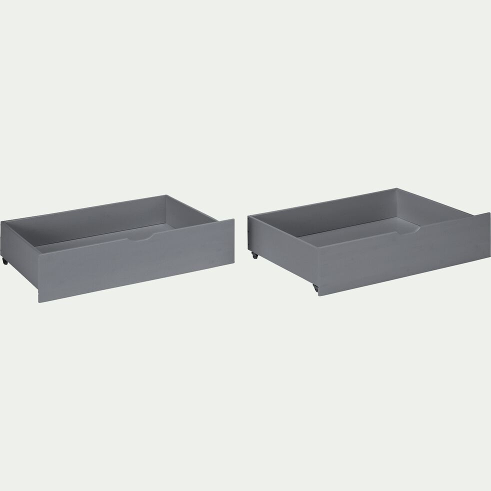 Deux tiroirs de lit coulissant en bois - L200cm gris-NOA