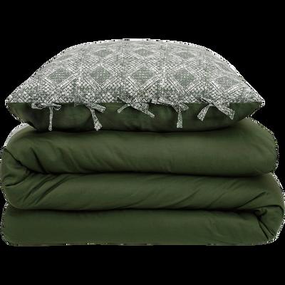 Housse de couette en coton lavé vert cèdre 240x220cm et deux taies d'oreillers-BATIK