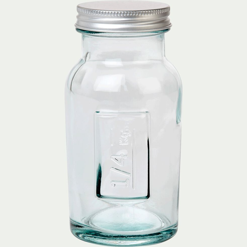 Bocal en verre recyclé avec bouchon 250G-STORAGE